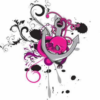 pink gothic skull and anchor vector art design photo sculpture key ring
