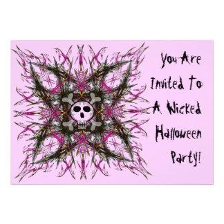 Pink Gothic Skull Fractal Invitation
