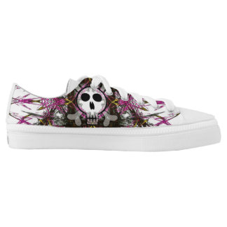 Pink Gothic Skull Fractal Shoes Printed Shoes