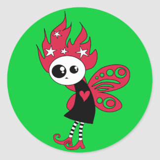 Pink Gothic Xmas Fairy Classic Round Sticker