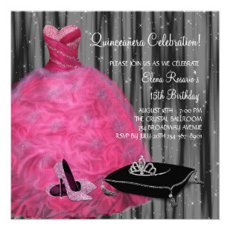 Pink Gown High Heel Shoes Hot Pink Quinceanera Invitations