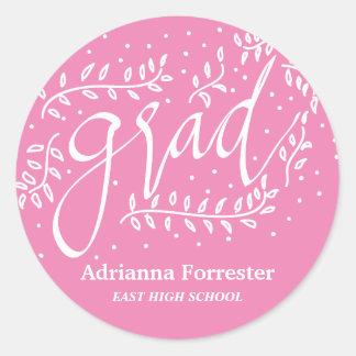 Pink Grad Typography Whimsical Round Sticker