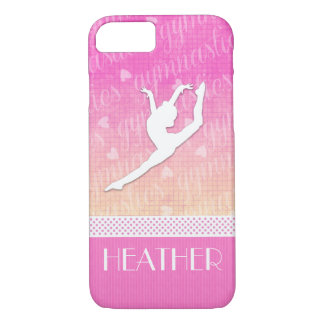 Pink Gradient Passionate Gymnastics with Monogram iPhone 8/7 Case
