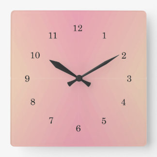 Pink Gradient Textured Square Wall Clock