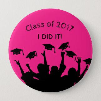 Pink Graduation Cap Gown Cap Toss Personalized 10 Cm Round Badge
