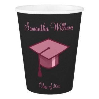 Pink Graduation Cap Paper Cup
