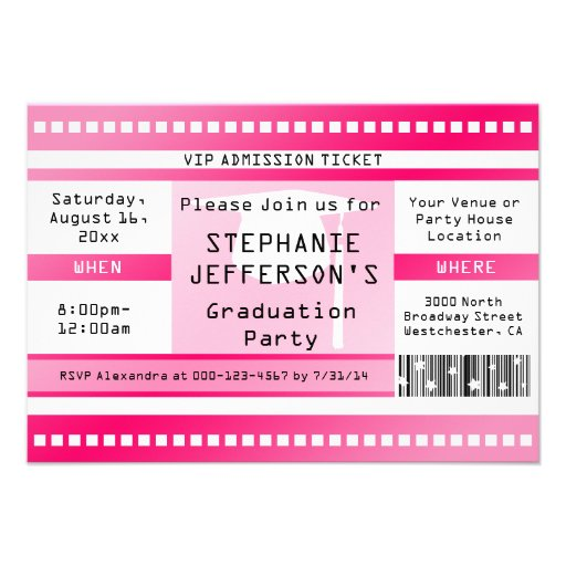 Pink Graduation or Party Admission Ticket Custom Invitation