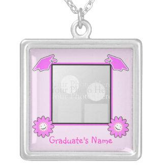 Pink Graduation Smiley Flowers (photo frame) Square Pendant Necklace