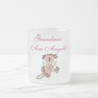 Pink Grandmas Are Angels Tshirts and Gifts Frosted Glass Coffee Mug