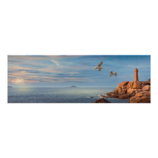 Pink granite coast in Brittany, France Poster