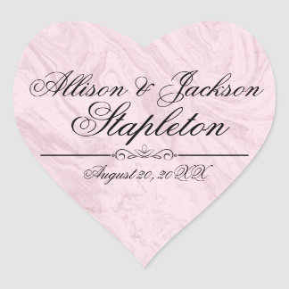 Pink Granite Marble Heart-Shaped Wedding Sticker