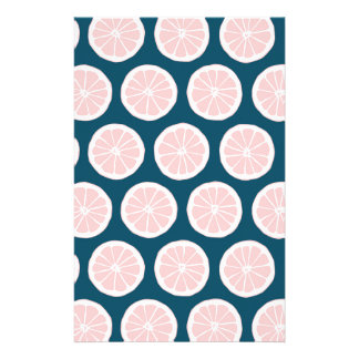 Pink Grapefruit on Blue Background Graphic Pattern Stationery