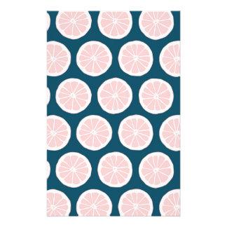Pink Grapefruit on Blue Background Graphic Pattern Customized Stationery