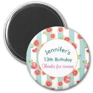 Pink Grapefruit Pattern on Green Stripes Birthday Magnet