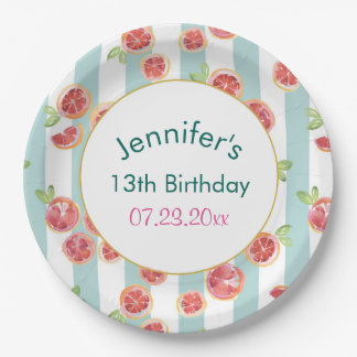 Pink Grapefruit Pattern on Green Stripes Birthday Paper Plate