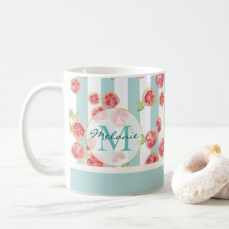 Pink Grapefruit Pattern on Green Stripes Monogram Coffee Mug