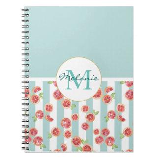 Pink Grapefruit Pattern on Green Stripes Spiral Notebook