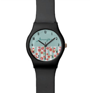 Pink Grapefruit Pattern on Green Stripes Watch
