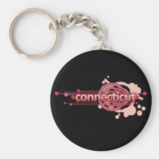 Pink Graphic Circle Connecticut Keychain Dark