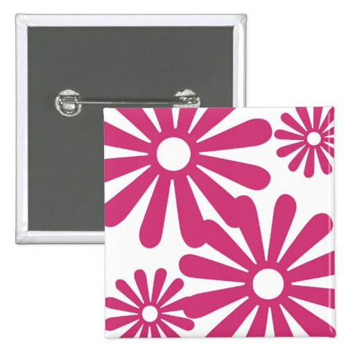 Pink Graphic Daisy Flower Pinback Buttons