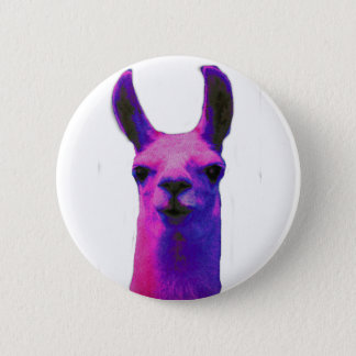 Pink Graphic Llama 6 Cm Round Badge