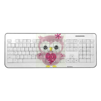 Pink Graphic Owl Wireless Computer Keyboard