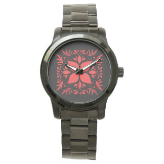 Pink graphics wrist watch for women