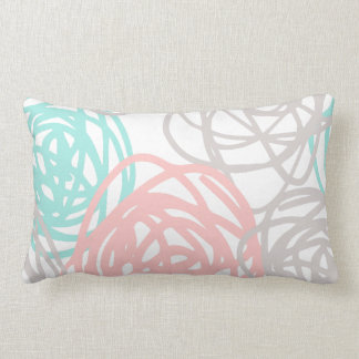 Pink Gray and Teal Doodle Pattern Lumbar Cushion
