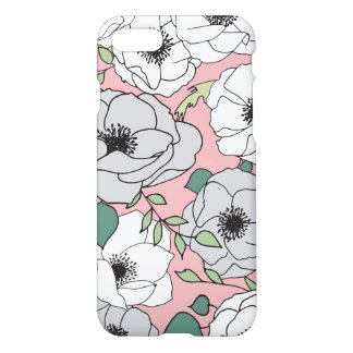 Pink Gray and White Anemone Flowers iPhone 8/7 Case
