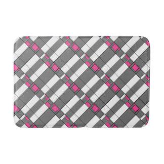 Pink Gray And White Geometrical Pattern Bath Mat