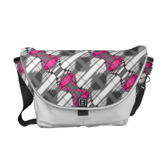 Pink Gray And White Geometrical Pattern Courier Bags