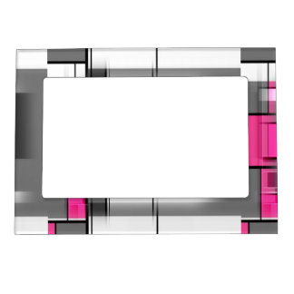Pink Gray And White Geometrical Pattern Magnetic Frame