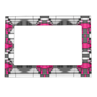 Pink Gray And White Geometrical Pattern Magnetic Picture Frame
