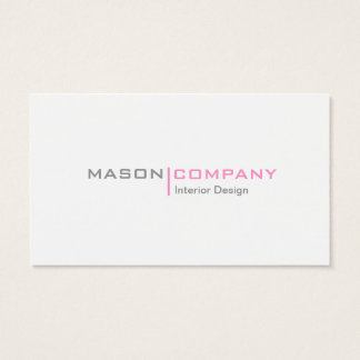 Pink Gray and White Minimalistic Business Card