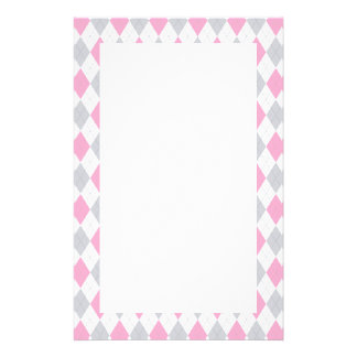 Pink Gray Argyle Pattern Personalised Stationery
