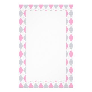 Pink Gray Argyle Pattern Personalized Stationery