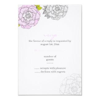 Pink & Gray Blooms Wedding RSVP Card Invites