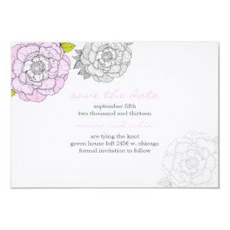 Pink & Gray Blooms Wedding Save The Date Card Custom Invite