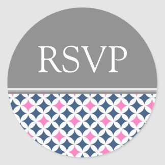 Pink Gray Blue Wedding RSVP Envelope Seals Round Sticker
