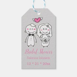 Pink & Gray Bridal Shower Wedding Bride & Groom Gift Tags