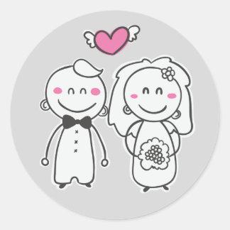 Pink & Gray Cartoon Bride And Groom Wedding Classic Round Sticker