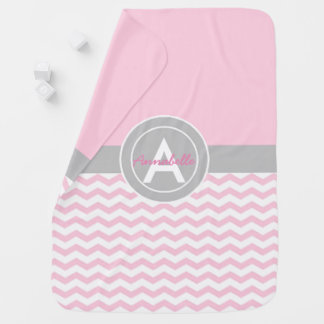 Pink Gray Chevron Baby Blanket