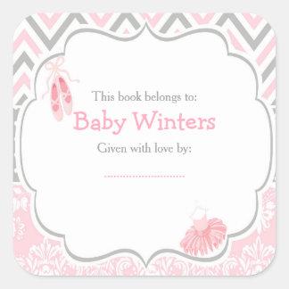 Pink/Gray Chevron Ballerina Baby Shower Bookplate Square Sticker