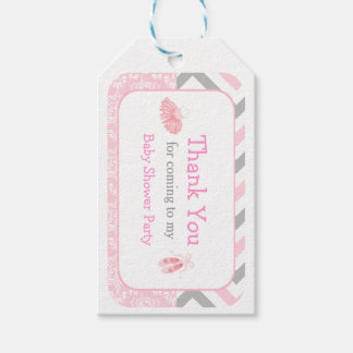 Pink U0026 Gray Chevron Ballerina Thank You Gift Tag