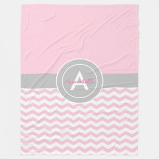 Pink Gray Chevron Fleece Blanket
