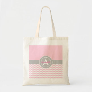 Pink Gray Chevron Tote Bag
