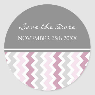 Pink Gray Chevrons Save the Date Envelope Seal Round Sticker