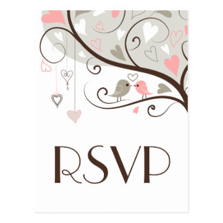 Pink & Gray | Cute Lovebirds Wedding RSVP Postcard