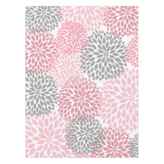 Pink Gray Dahlia floral art decor, flowers Tablecloth