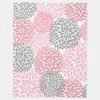 Pink Gray Dahlia floral fleece blanket